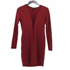 Express Womens Sheath Dress Red Long Sleeve Size S